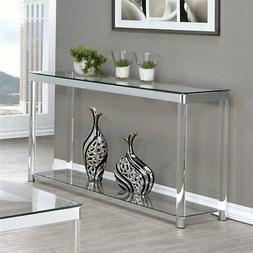 Coaster 1 Shelf Glass Top Console Table in Chrome and Clear