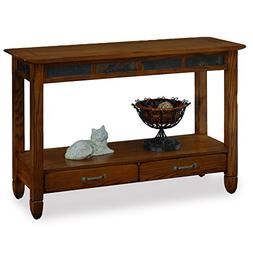 Leick Furniture 10933 Slatestone Oak Storage Console Table -