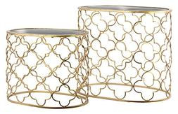 Urban Trends 12427 Metal Oval Nesting Accent Table with Mirr