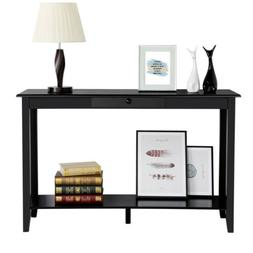 2 Tier Console Table Sofa Table for Entryway Living Room Sto
