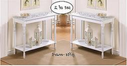 2 carved distressed turned leg WHITE Sofa console Entry Hall