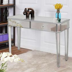 2 Drawer Mirrored Vanity Make-Up Desk Console Dressing Silve