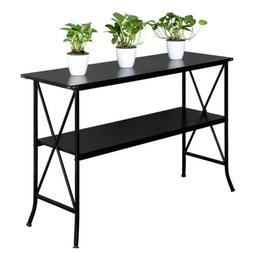 2 Layers Side Console Table Shelf MDF Countertop Iron Base H