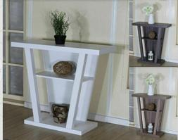 2-Shelf Modern Console Accent Hallyway Table - WhiteGrey T