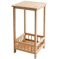 HollyHOME 2 Tier Chair Mango Wood Bamboo Side Table with Sto