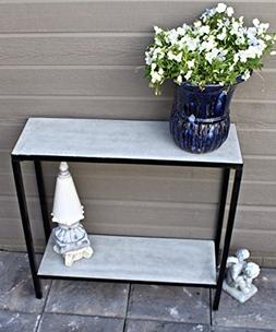 2 Tier Concrete Outdoor Patio Console Buffet Table