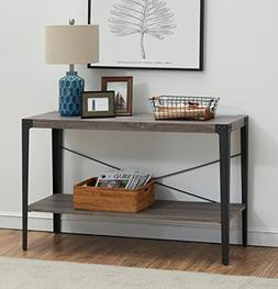 O&K Furniture 2-Tier Industrial Sofa Table, Metal Hall Conso
