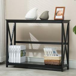 2 Tiers Black Console Table Accent Tables with Storage Shelf