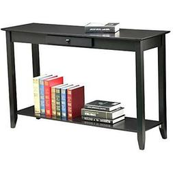 2 Tiers Concepts Wood Console Table With Drawer And Shelf Li