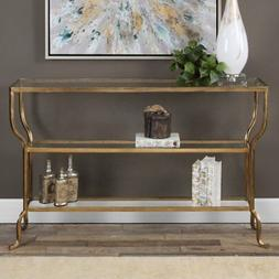 Uttermost 24668 Deline 54 X 14 inch Antiqued Gold Console Ta