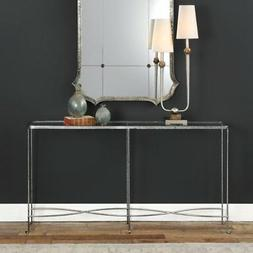 Narrow Silver Curved Twisted Silver Console Table | Slim Inf