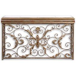 Uttermost 26104 Valonia Embossed Metal Console Table