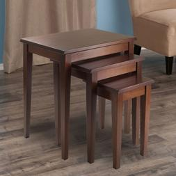 3-Piece Side Table Set Sofa End Chair Side Console Wood Mid