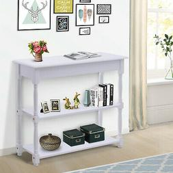 3-tier Accent Sofa Console Table Wood Hallway Entryway Books