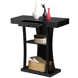 Topeakmart Black 3 Tier Console Table Entryway Table w/ Cent