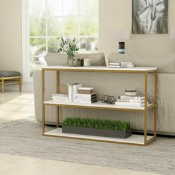 Tribesigns 3-Tier Console Table with Faux Marble Top and Gol