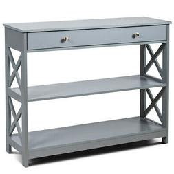 3-Tier Console Table X-Design Sofa Entryway Table with Drawe