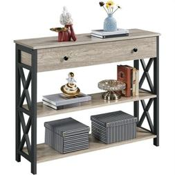 3-Tier Sofa Console Table with Drawer for Living Room Entryw