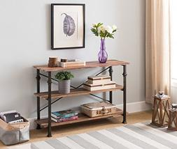 3-tier Weathered Oak/Metal Frame Industrial Style Console So