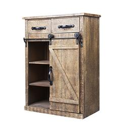 32''H Rustic Barn Door Wood End Table Wood Console Cabinet,