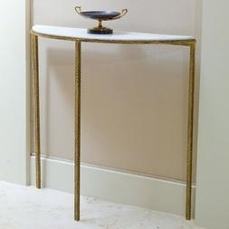 "38"" Console Table Iron Hammered Gold Finish Frame White Marb"