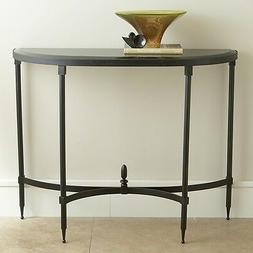 """42"""" Wide Console Table Fluted Iron Base Half Oval Black Gran"""