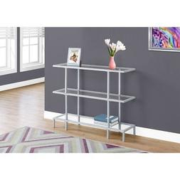 "Monarch 42""L Tempered Glass Hall Console Accent Table, Silve"