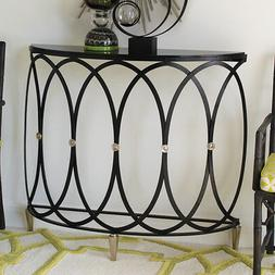 "42"" Long Demi Console Table Hand Wrought Iron Polished Nicke"