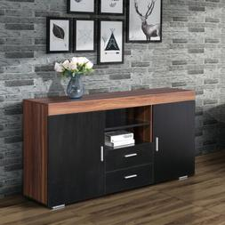 "57"" Black Wooden Storage Cabinet Sideboard Buffet Cupboard K"