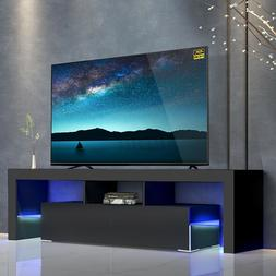 57'' TV Stand Unit Cabinet High Gloss Console Table w/LED Li