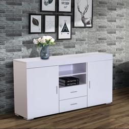 "57"" White Wooden Storage Cabinet Sideboard Buffet Cupboard K"