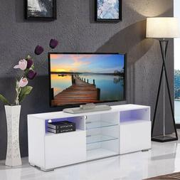 """58"""" High Gloss White LED TV Stand with 2 Doors 2 Shelves Uni"""