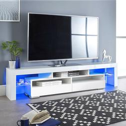 """63"""" TV Stand Unit Cabinet Console Table with LED Shelve 2 Dr"""