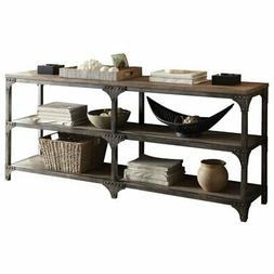 "Acme Gorden 70"" Server, Weathered Oak & Antique Silver"