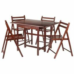 Winsome Wood 94557 Taylor 5-Pc Set Drop Leaf Table w/4 Foldi