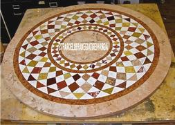 Antique Marble Top Console Table Mosaic Inlay Marquetry Arts