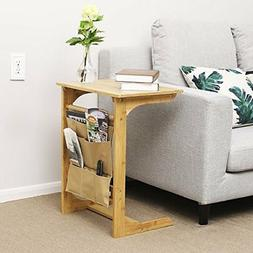 Bamboo Sofa Side Table Snack Console Coffee/Laptop Desk Bed