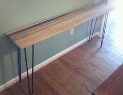 """Beautiful poplar console table with 28"""" black hairpin legs"""