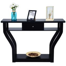 Black Accent Console Table Modern Sofa Entryway Hallway Hall