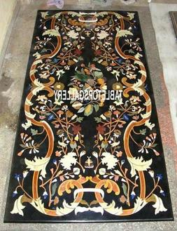 Black Antique Marble Top Console Table Inlay Mosaic Dining R