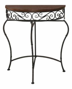 Boston Metal Half Moon Console Table with Wood Top, Scroll A