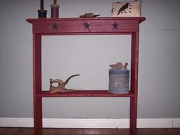 CUSTOM MADE RUSTIC CONSOLE TABLE - BARN RED COLOR WITH STAR