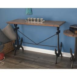 Coastal Beach Console Sofa Table Anchor Metal Legs Fir Wood