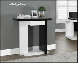 Console Sofa Table with Shelf and Drawer GLOSSY Wood Display