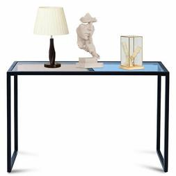 Console Table Tempered Glass Top Metal Frame Hallway Entrywa