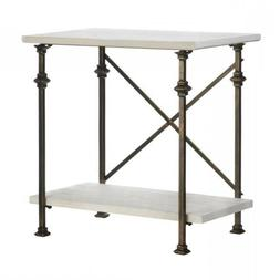 Console Table W Black Iron Legs Wood Top Off White Modern or