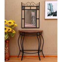Console Table and Mirror Set Entry Metal Stand Wood Design A