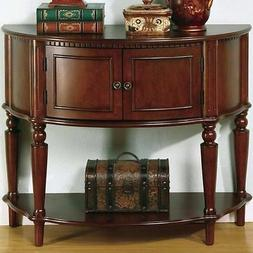 Entry Table with Curved Front and Inlay Shelf Brown