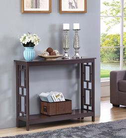 Espresso Console Table Furniture Accent Vintage Wood Entrywa