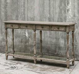 French Country Weathered Wood 4 Drawer Console Table
